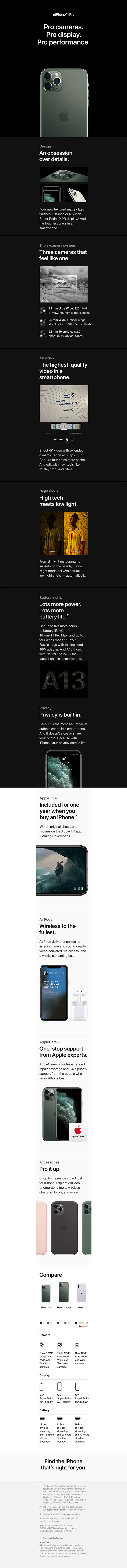 iPhone 11 Pro Product Overview Page